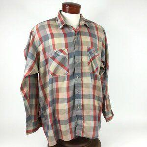 WRANGLER Red Tan Grey Plaid Button Down, 2 Pocket